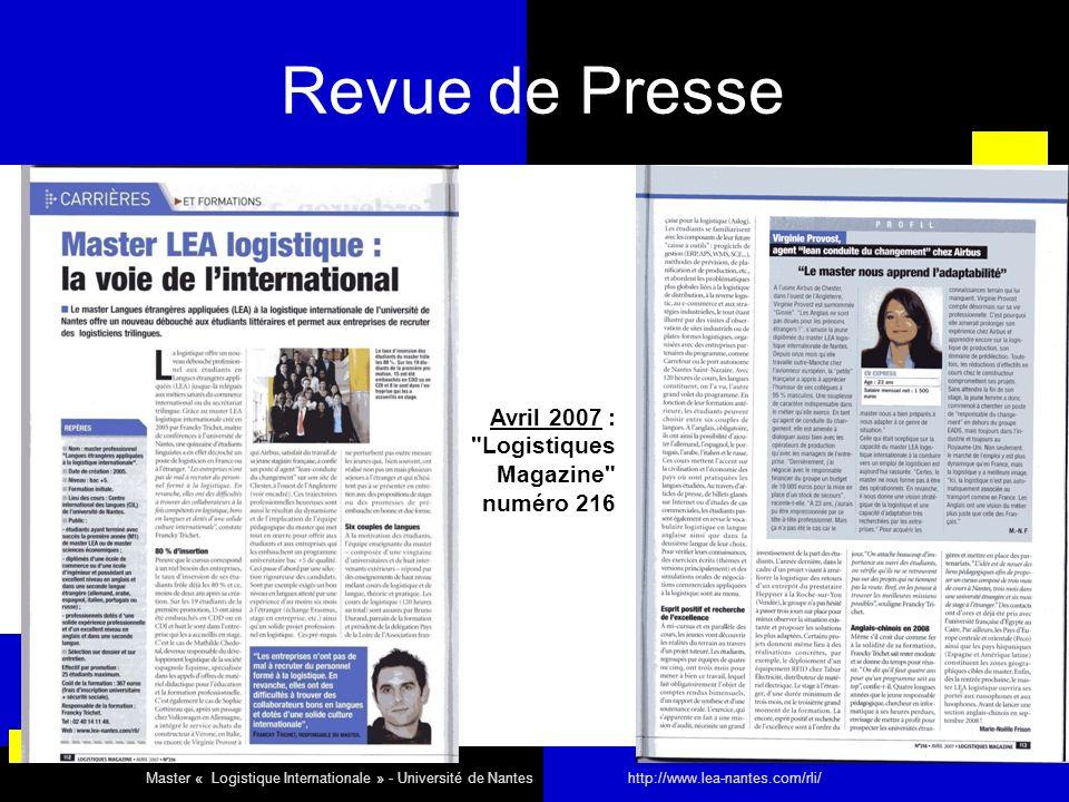 Revue de Presse Avril 2007 : Logistiques Magazine numéro 216