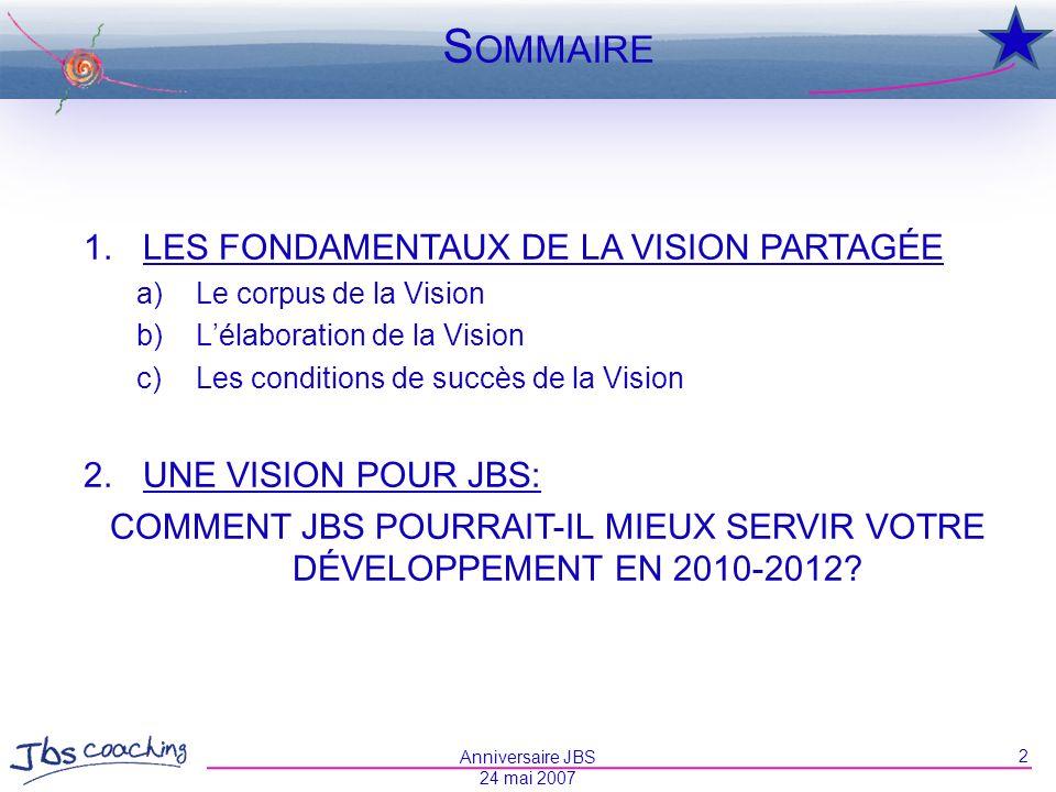COMMENT JBS POURRAIT-IL MIEUX SERVIR VOTRE DÉVELOPPEMENT EN 2010-2012