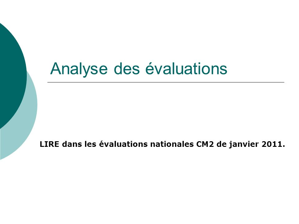Analyse des évaluations