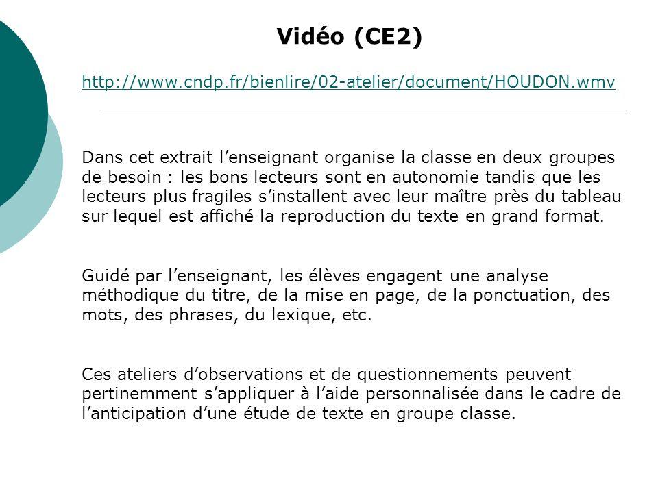 Vidéo (CE2) http://www.cndp.fr/bienlire/02-atelier/document/HOUDON.wmv