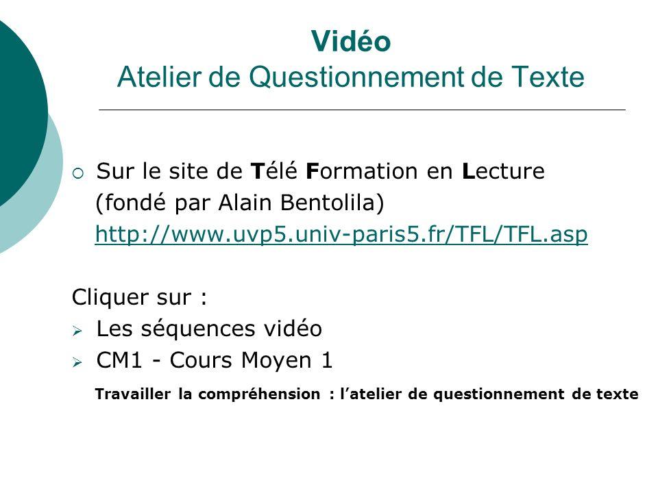 Vidéo Atelier de Questionnement de Texte