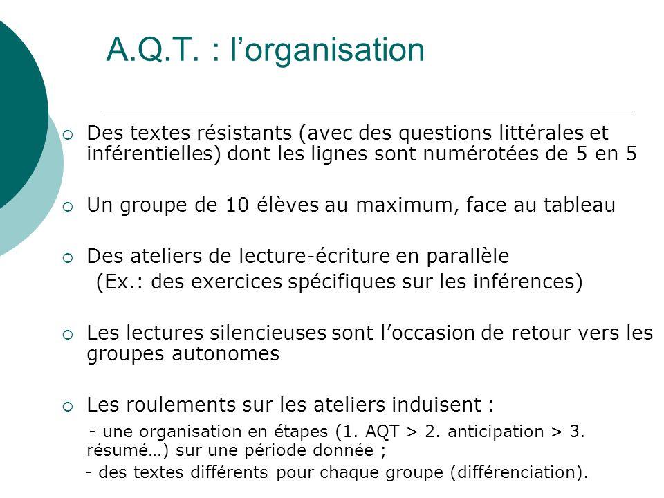 A.Q.T. : l'organisation Des textes résistants (avec des questions littérales et inférentielles) dont les lignes sont numérotées de 5 en 5.
