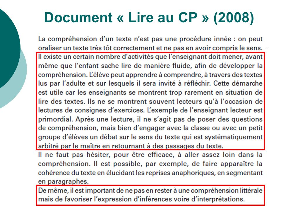 Document « Lire au CP » (2008)