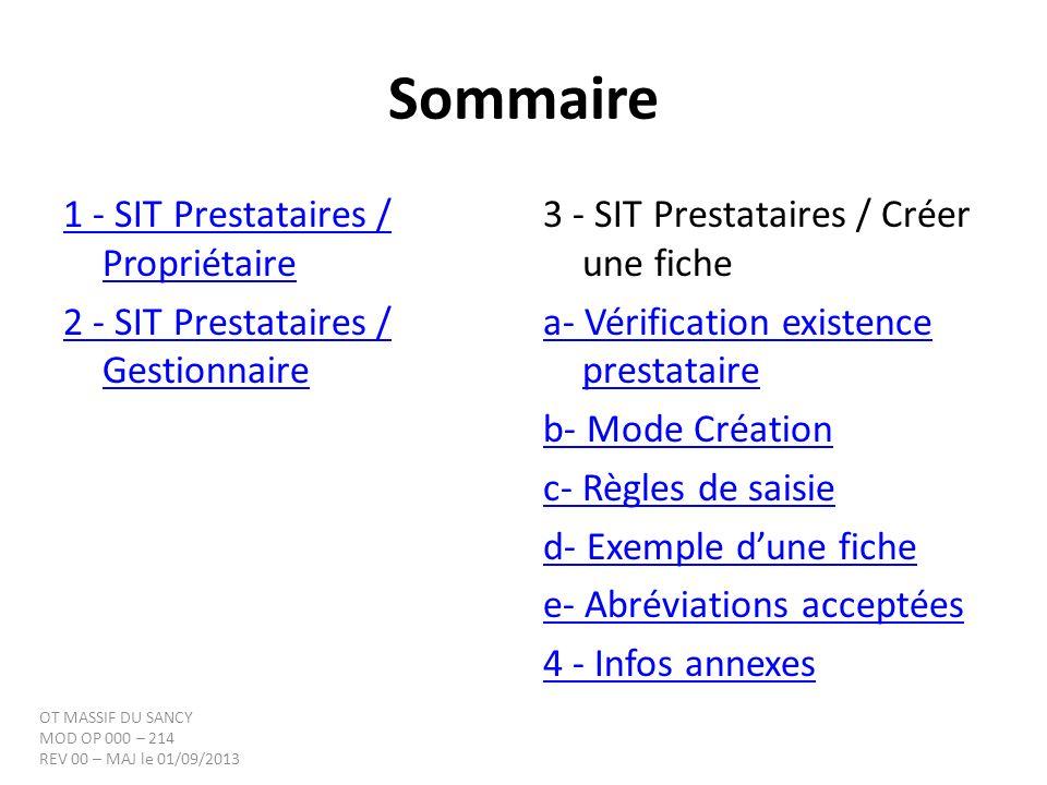 Sommaire 1 - SIT Prestataires / Propriétaire
