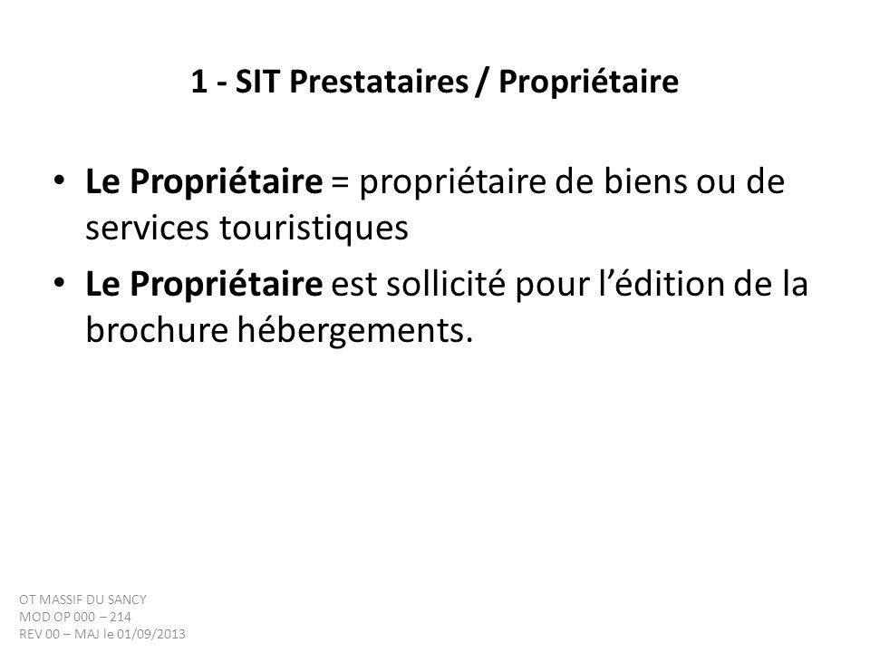 1 - SIT Prestataires / Propriétaire