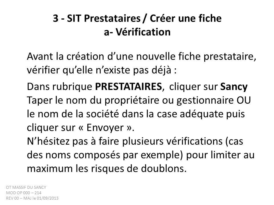 3 - SIT Prestataires / Créer une fiche a- Vérification