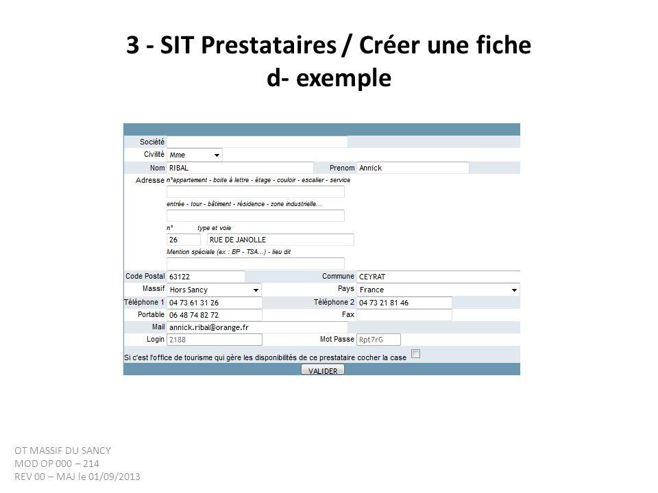 3 - SIT Prestataires / Créer une fiche d- exemple