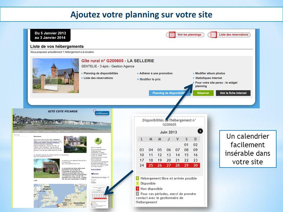 Ajoutez votre planning sur votre site