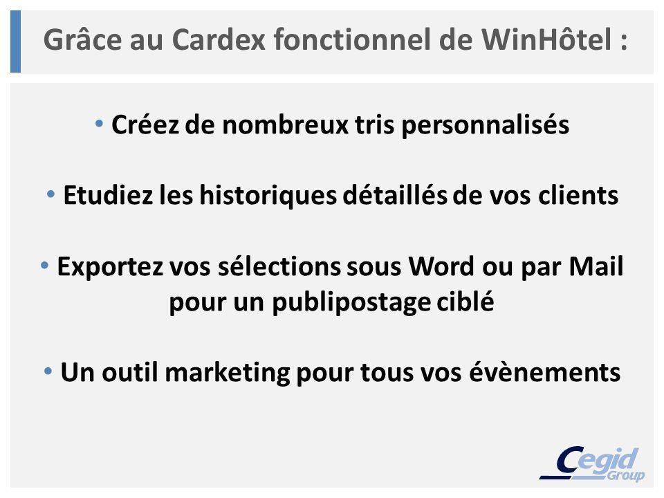 Grâce au Cardex fonctionnel de WinHôtel :