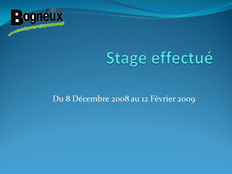 Stage effectué Du 8 Décembre 2008 au 12 Février 2009