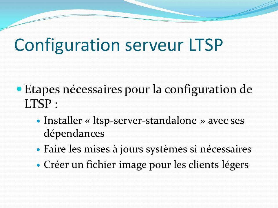 Configuration serveur LTSP