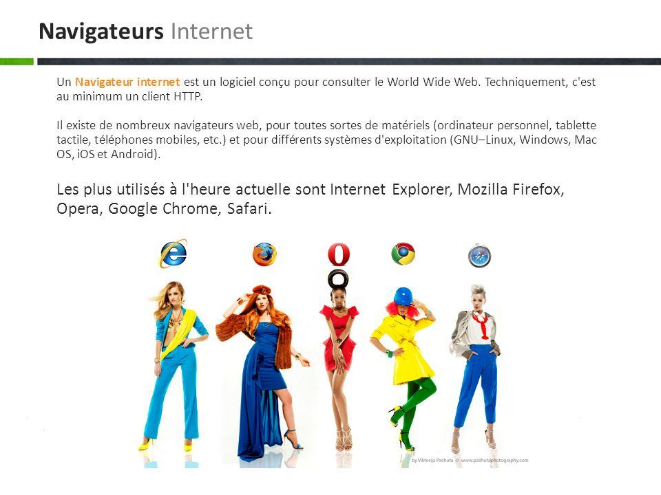 Navigateurs Internet Un Navigateur internet est un logiciel conçu pour consulter le World Wide Web. Techniquement, c est au minimum un client HTTP.