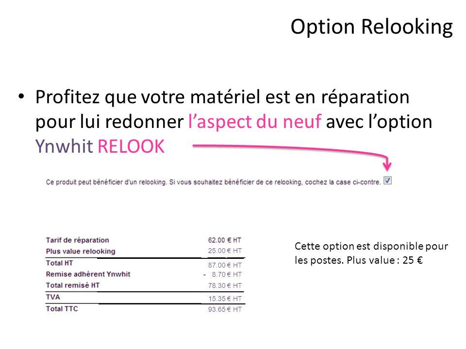 Option Relooking Profitez que votre matériel est en réparation pour lui redonner l'aspect du neuf avec l'option Ynwhit RELOOK.