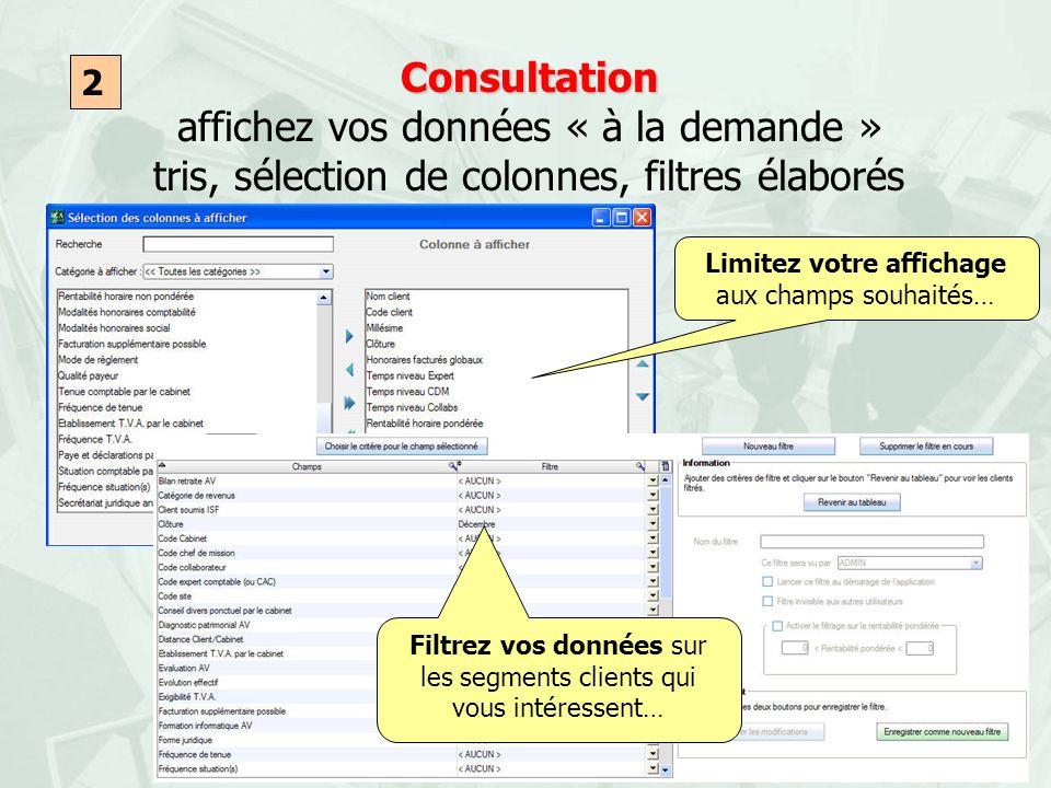 Consultation affichez vos données « à la demande » tris, sélection de colonnes, filtres élaborés