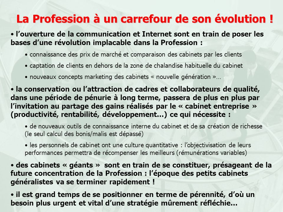 La Profession à un carrefour de son évolution !