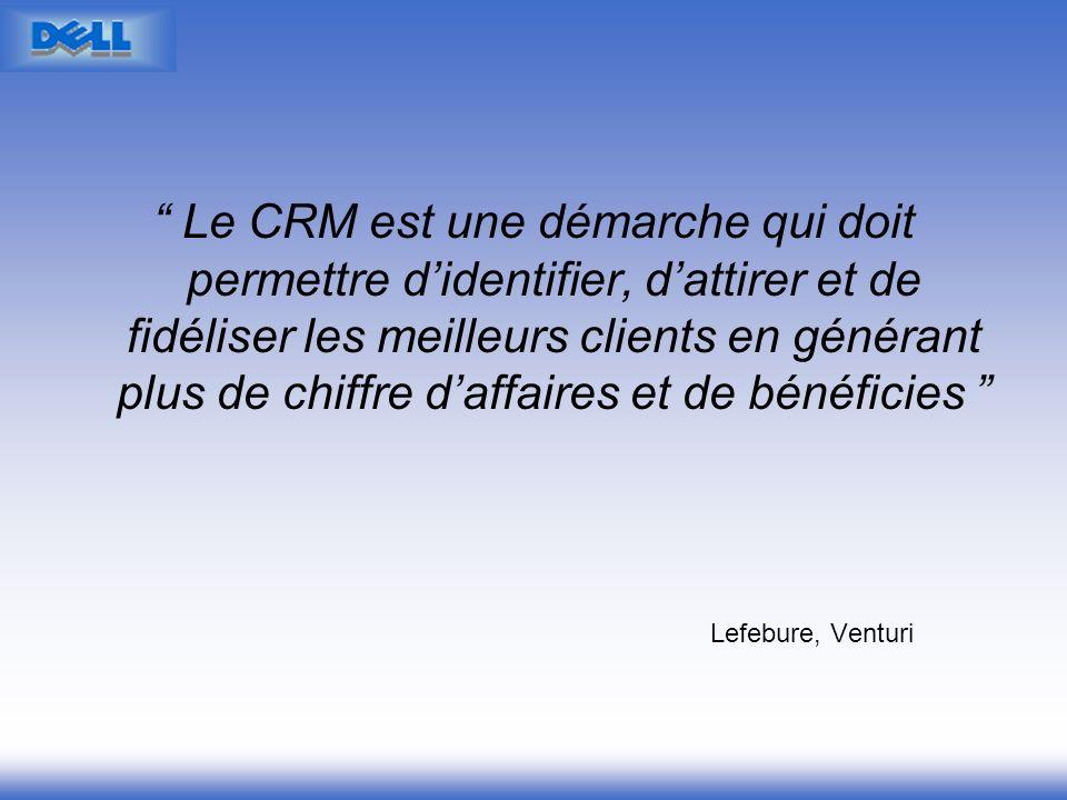 Le CRM est une démarche qui doit permettre d'identifier, d'attirer et de fidéliser les meilleurs clients en générant plus de chiffre d'affaires et de bénéficies