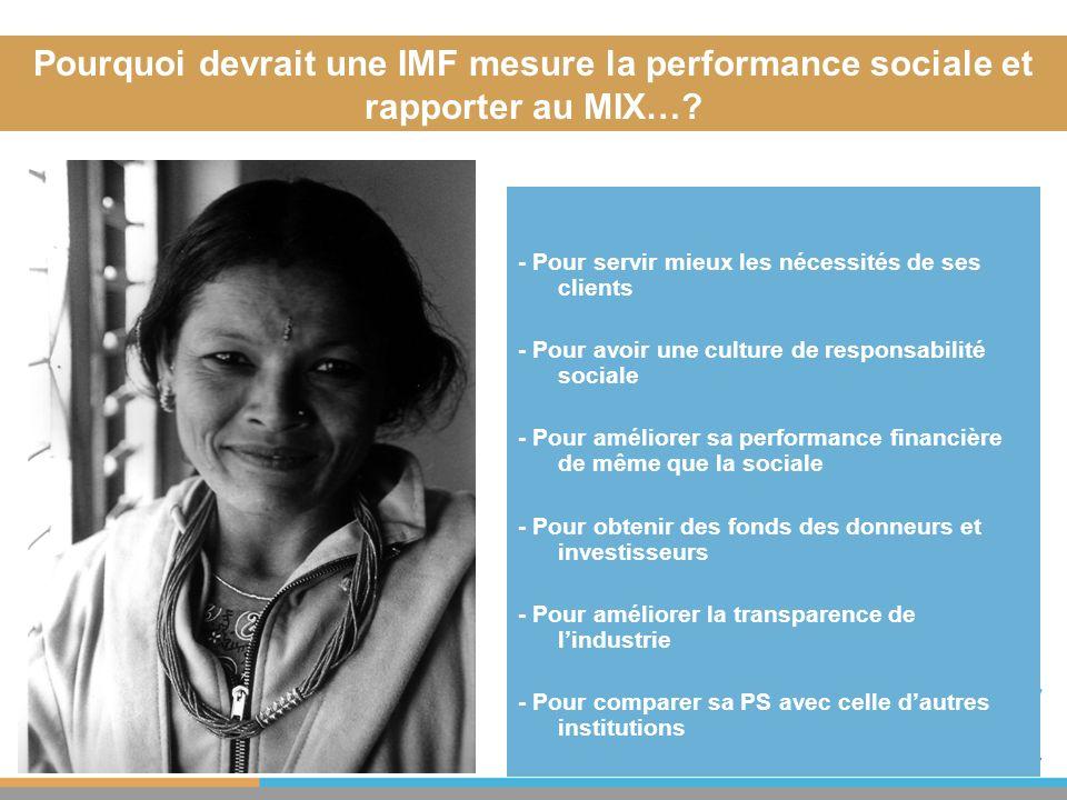 31.03.2017 Pourquoi devrait une IMF mesure la performance sociale et rapporter au MIX… - Pour servir mieux les nécessités de ses clients.