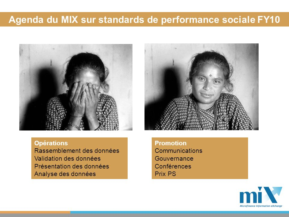 Agenda du MIX sur standards de performance sociale FY10