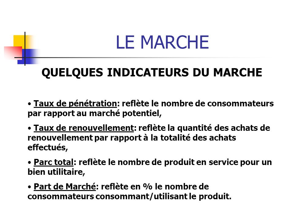QUELQUES INDICATEURS DU MARCHE