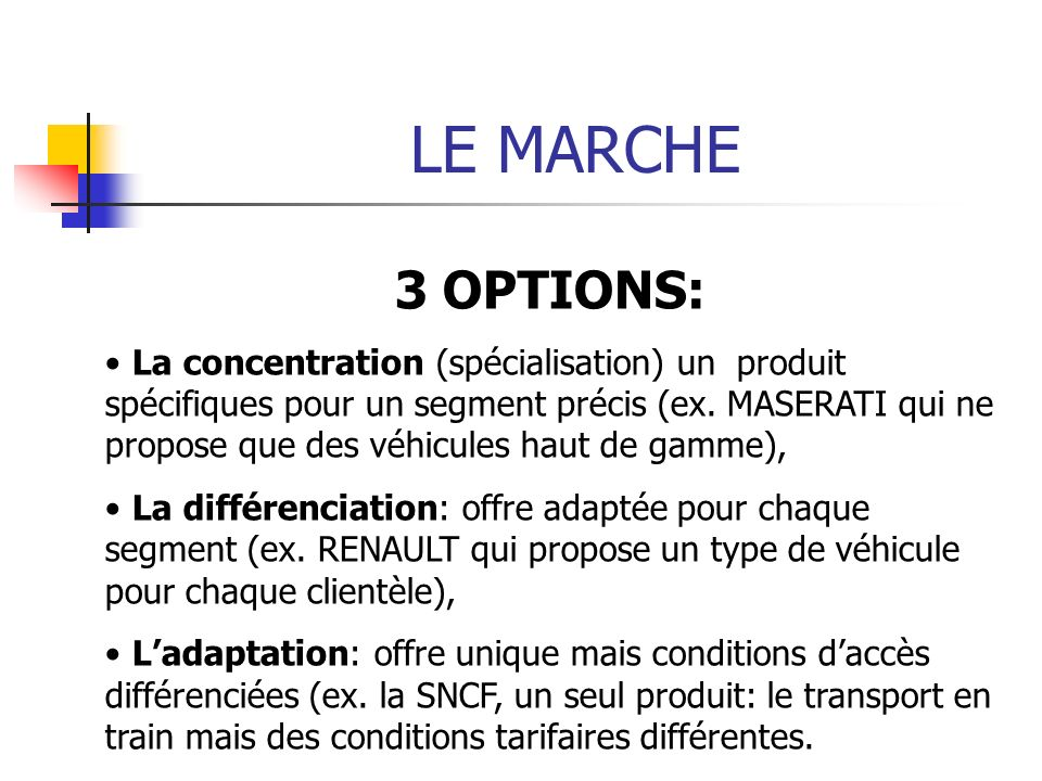 LE MARCHE 3 OPTIONS: