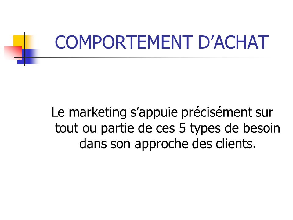 COMPORTEMENT D'ACHAT Le marketing s'appuie précisément sur tout ou partie de ces 5 types de besoin dans son approche des clients.