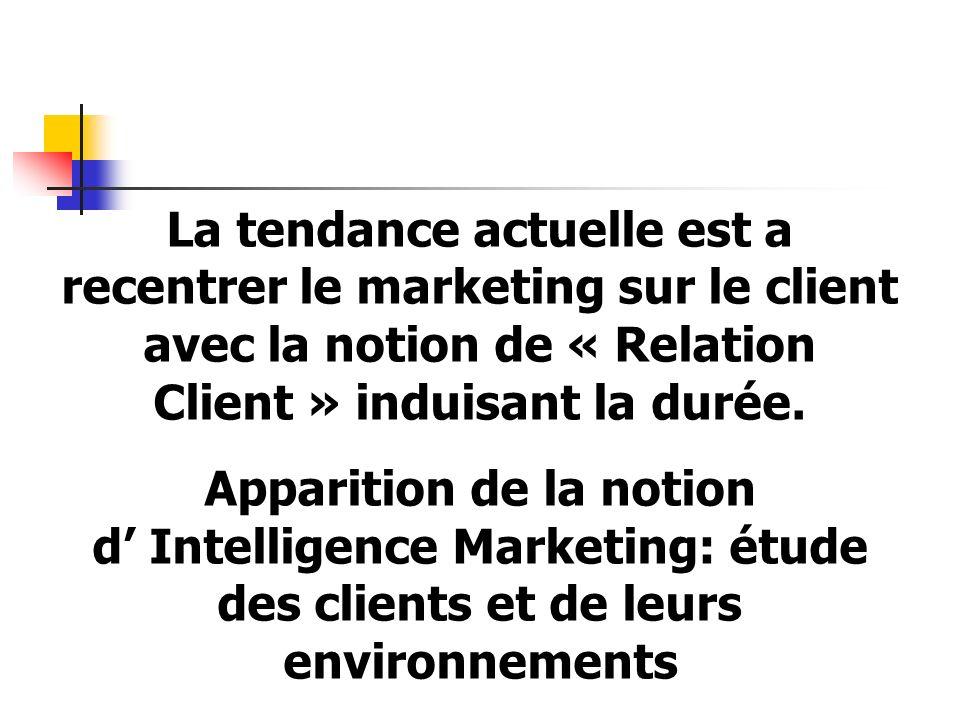 La tendance actuelle est a recentrer le marketing sur le client avec la notion de « Relation Client » induisant la durée.