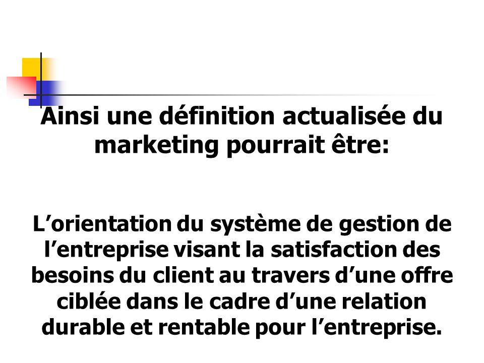 Ainsi une définition actualisée du marketing pourrait être:
