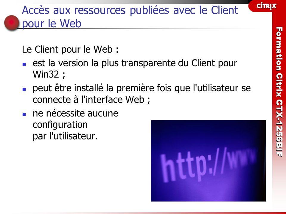 Accès aux ressources publiées avec le Client pour le Web