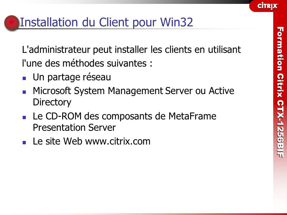 Installation du Client pour Win32