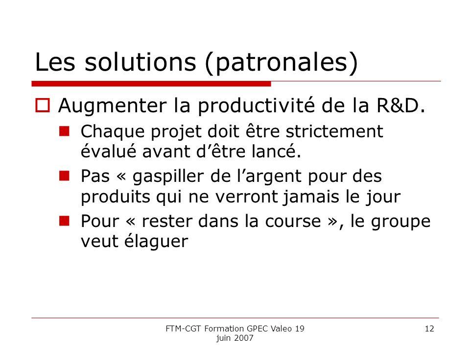 Les solutions (patronales)