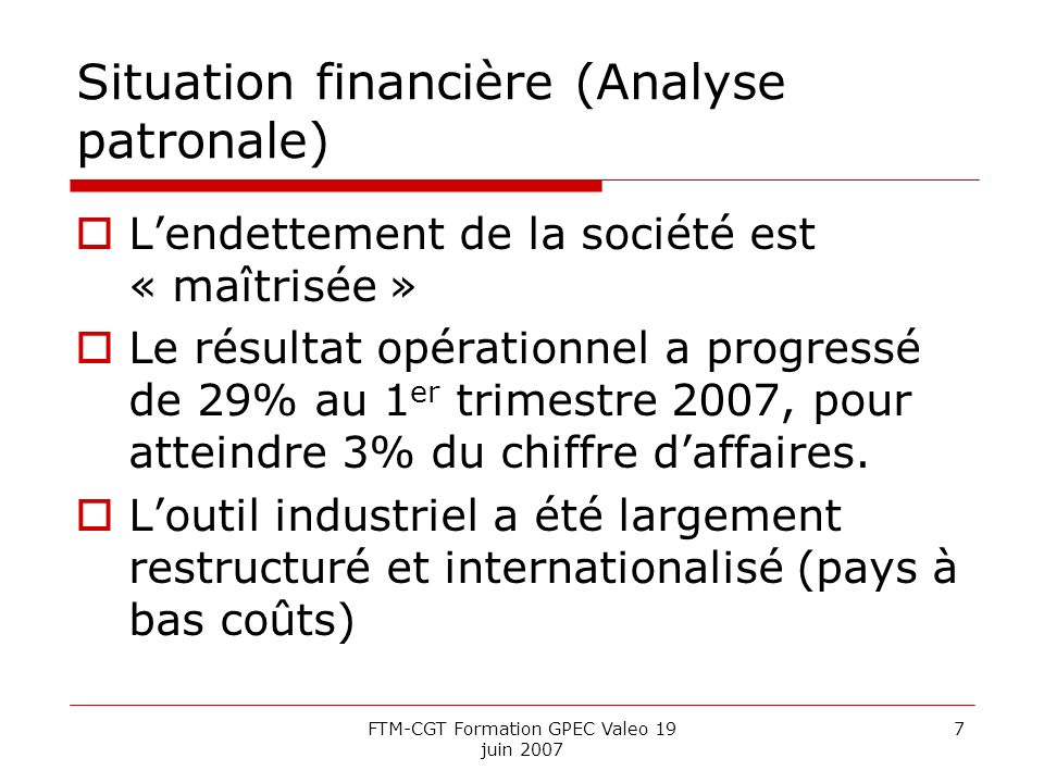 Situation financière (Analyse patronale)