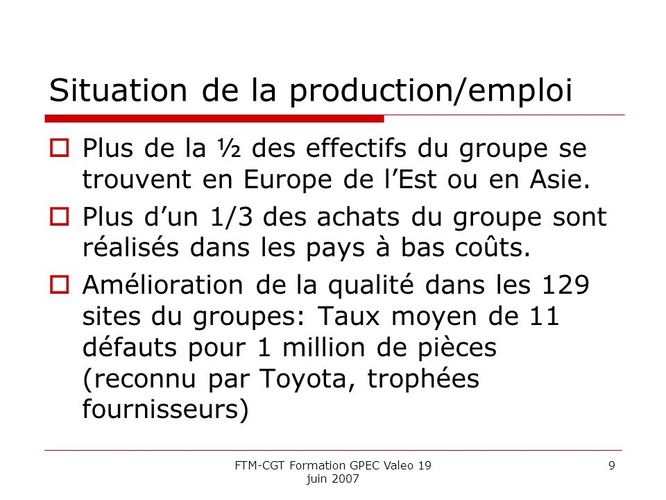Situation de la production/emploi
