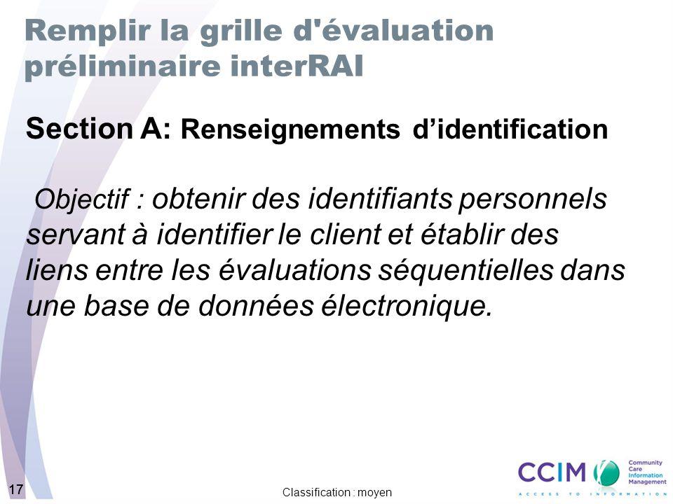 Remplir la grille d évaluation préliminaire interRAI