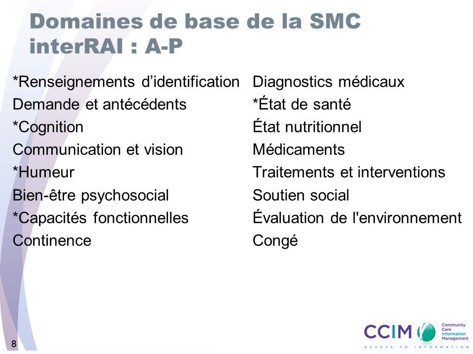 Domaines de base de la SMC interRAI : A-P