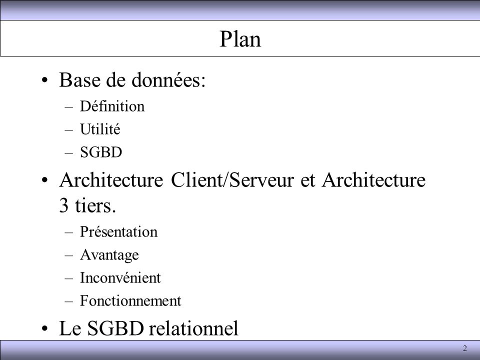 Gestion des bases de donn es ppt video online t l charger for Definition architecture informatique
