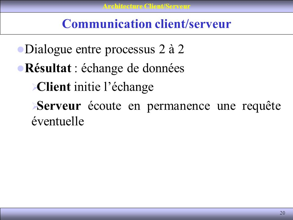 Communication client/serveur