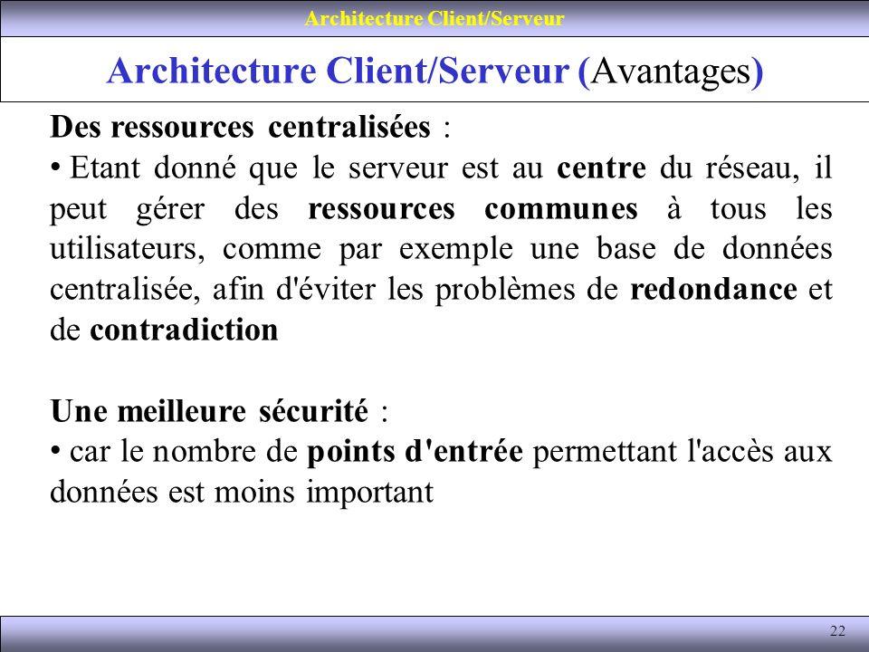 Architecture Client/Serveur (Avantages)