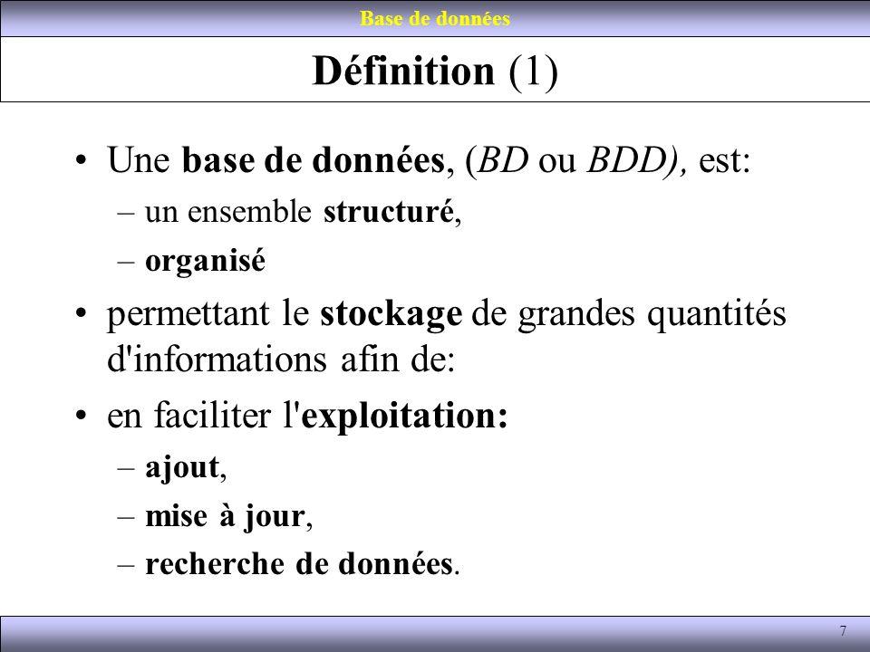 Définition (1) Une base de données, (BD ou BDD), est: