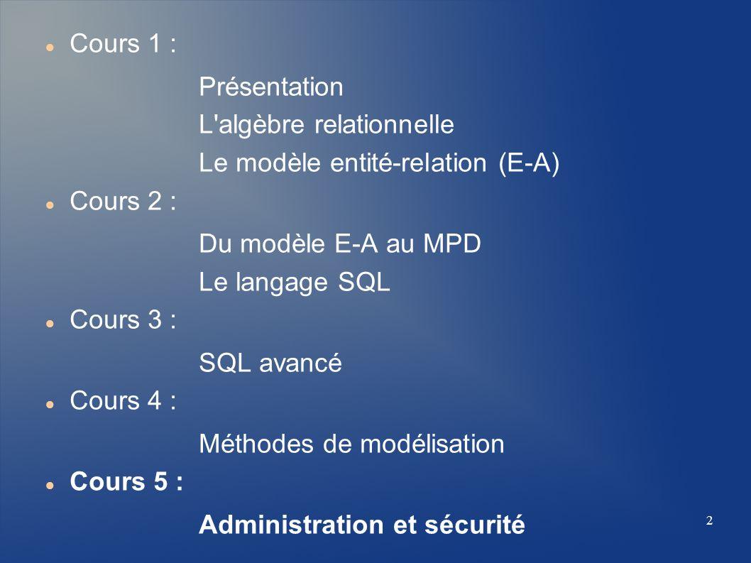 Cours 1 : Présentation. L algèbre relationnelle. Le modèle entité-relation (E-A) Cours 2 : Du modèle E-A au MPD.