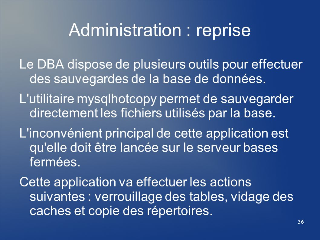Administration : reprise