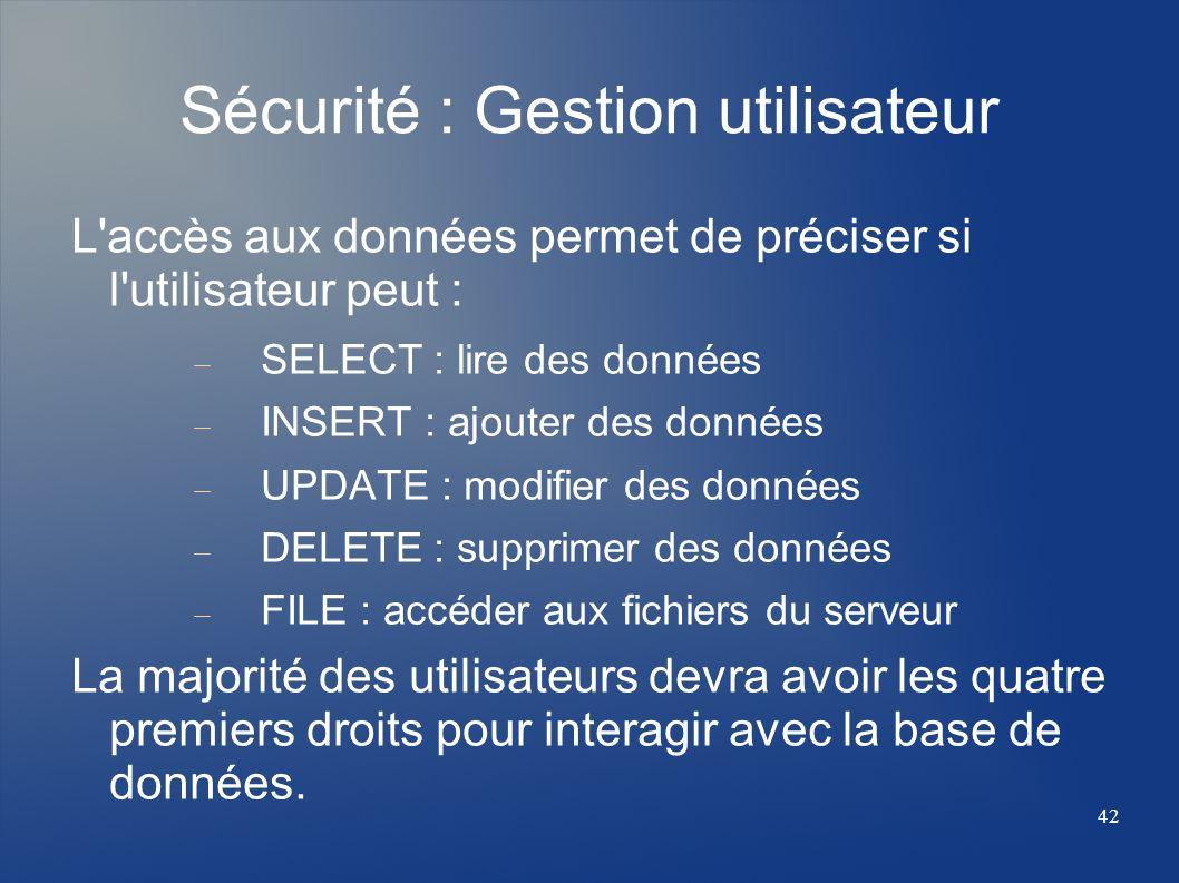 Sécurité : Gestion utilisateur