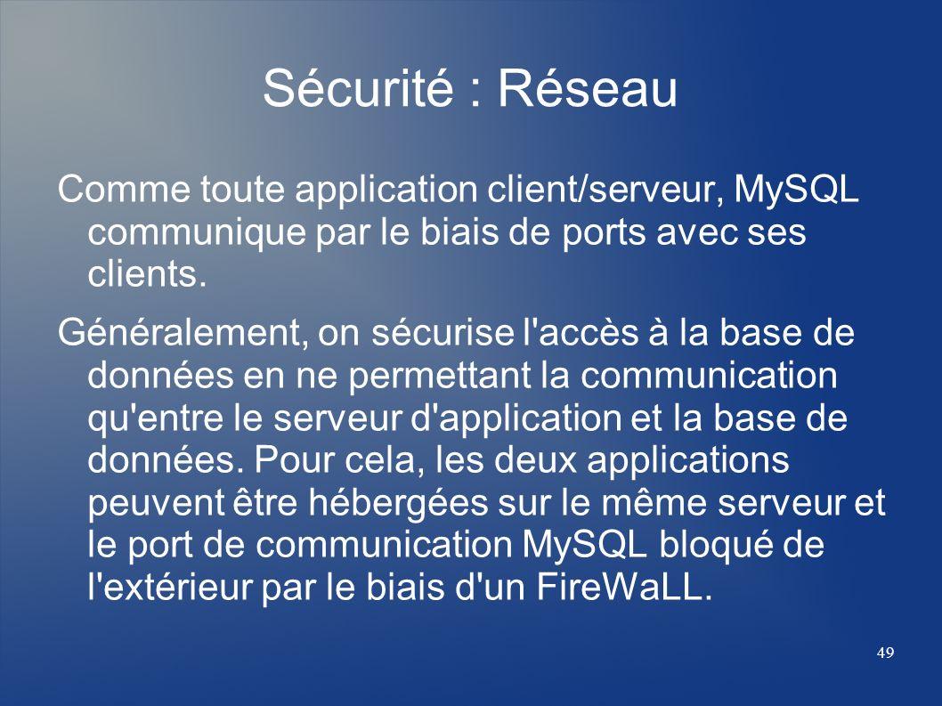 Sécurité : Réseau Comme toute application client/serveur, MySQL communique par le biais de ports avec ses clients.