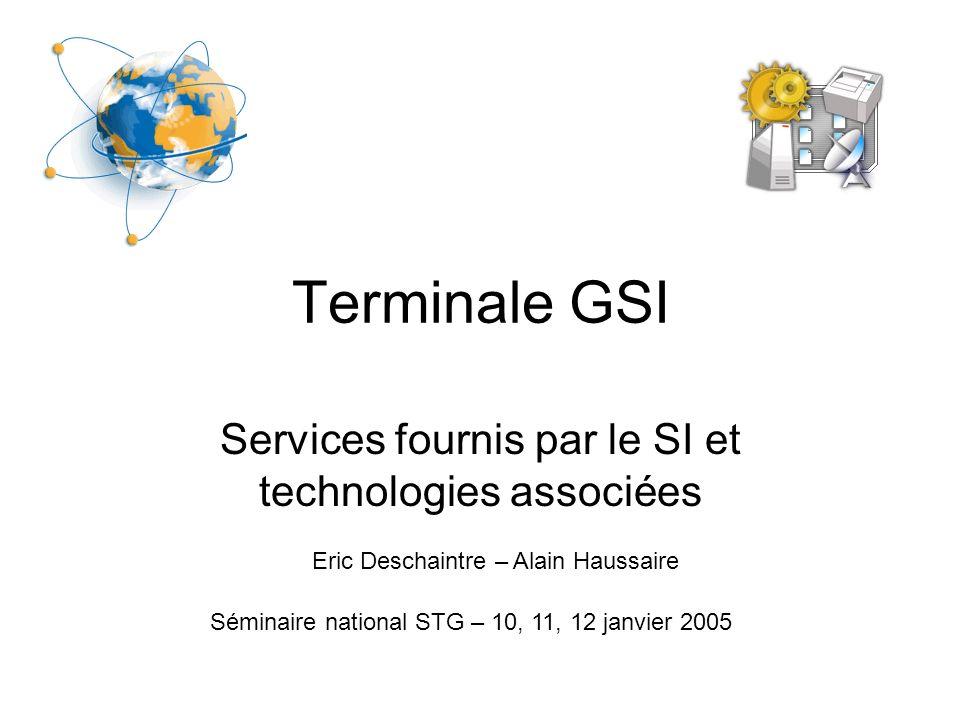 Services fournis par le SI et technologies associées