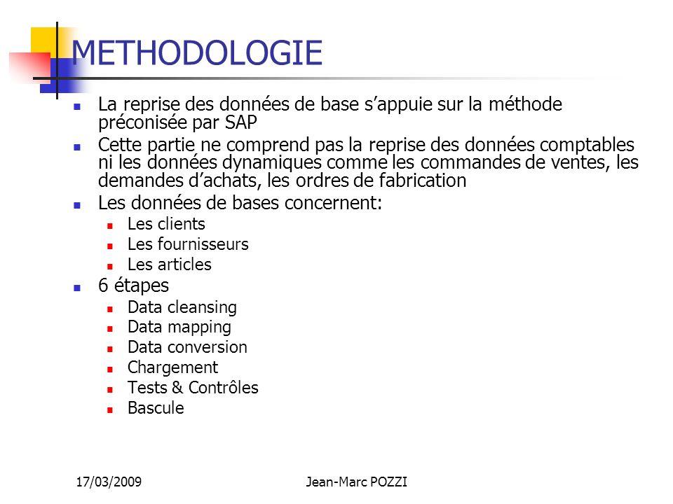METHODOLOGIE La reprise des données de base s'appuie sur la méthode préconisée par SAP.