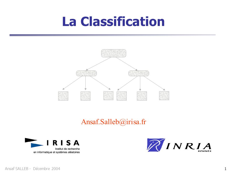 La Classification Ansaf.Salleb@irisa.fr