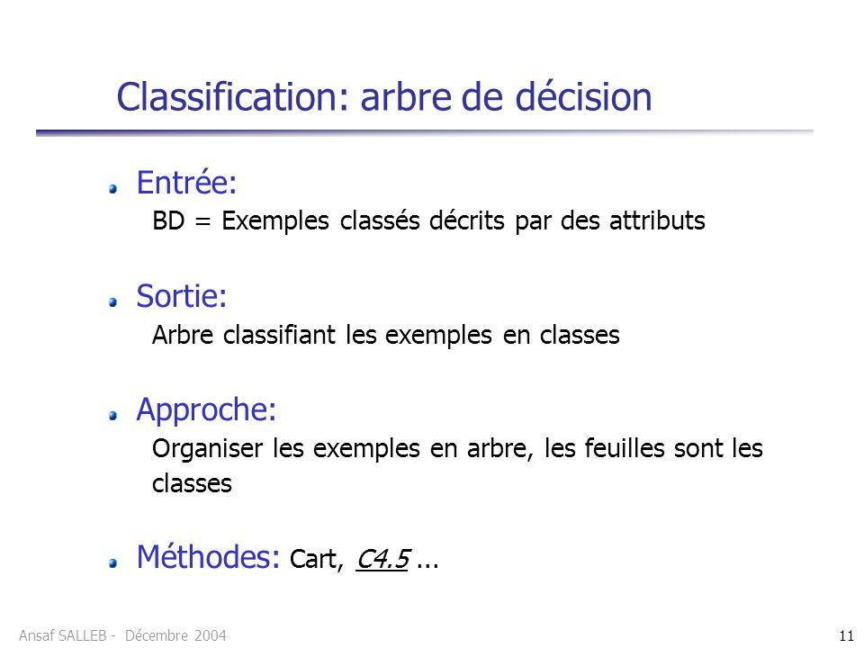 Classification: arbre de décision