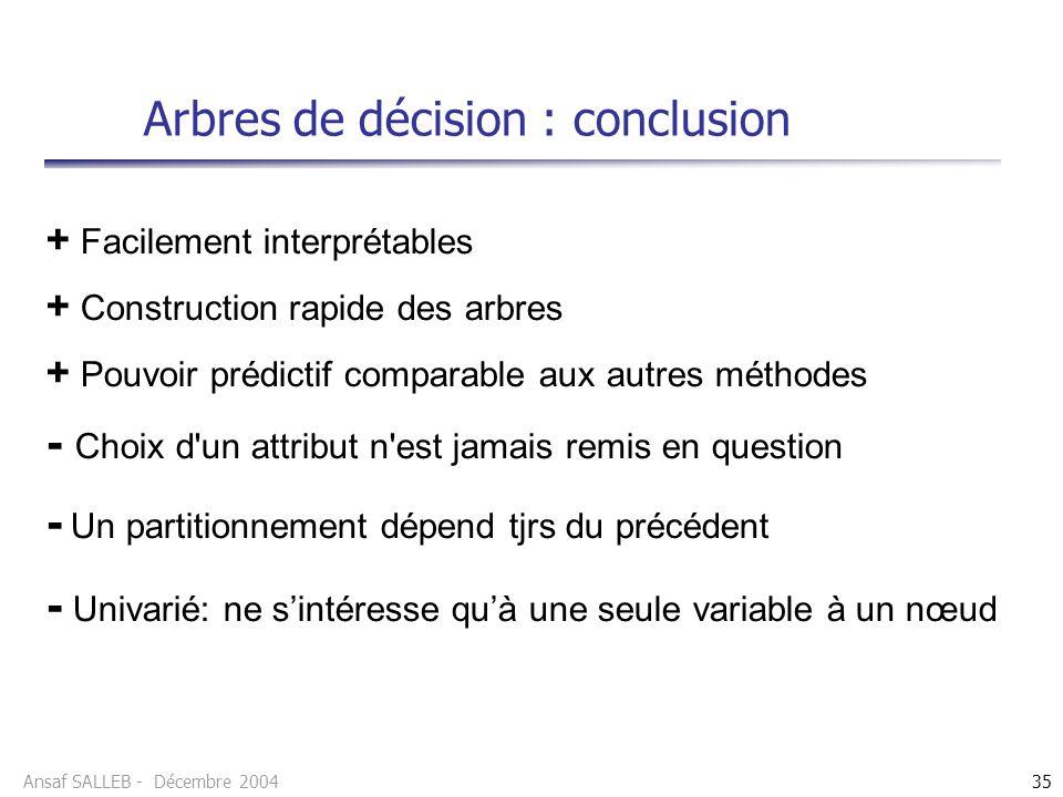 Arbres de décision : conclusion