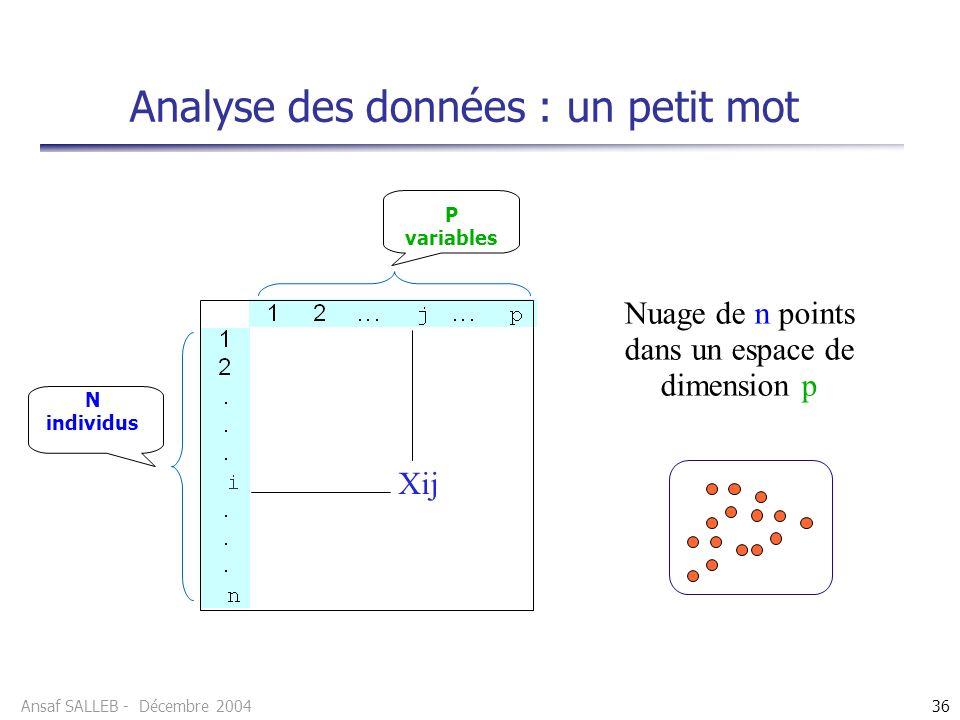 Analyse des données : un petit mot