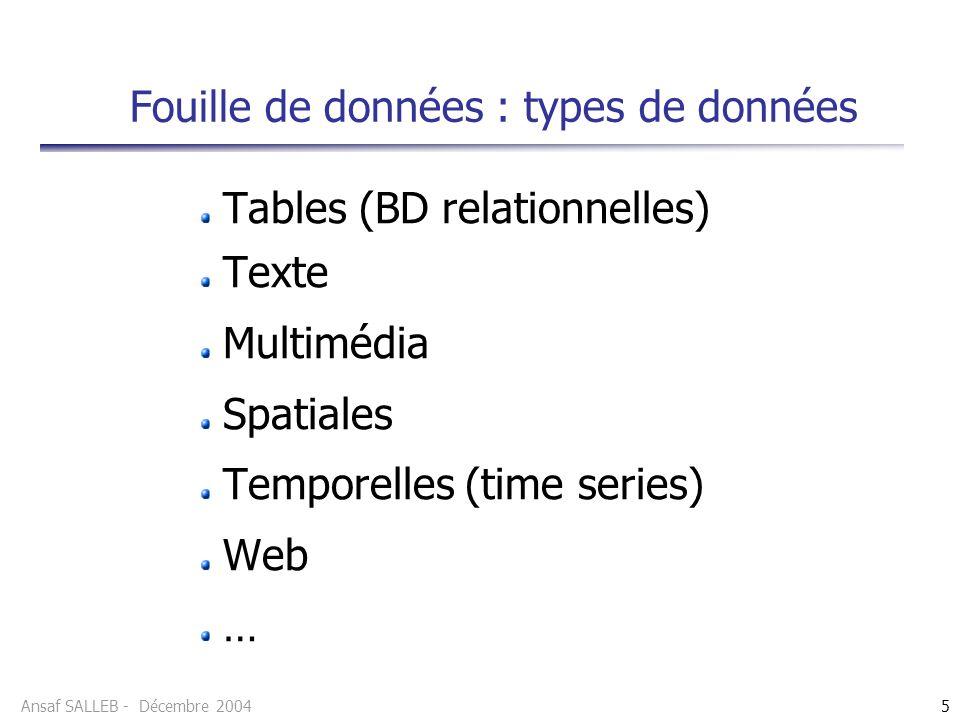 Fouille de données : types de données
