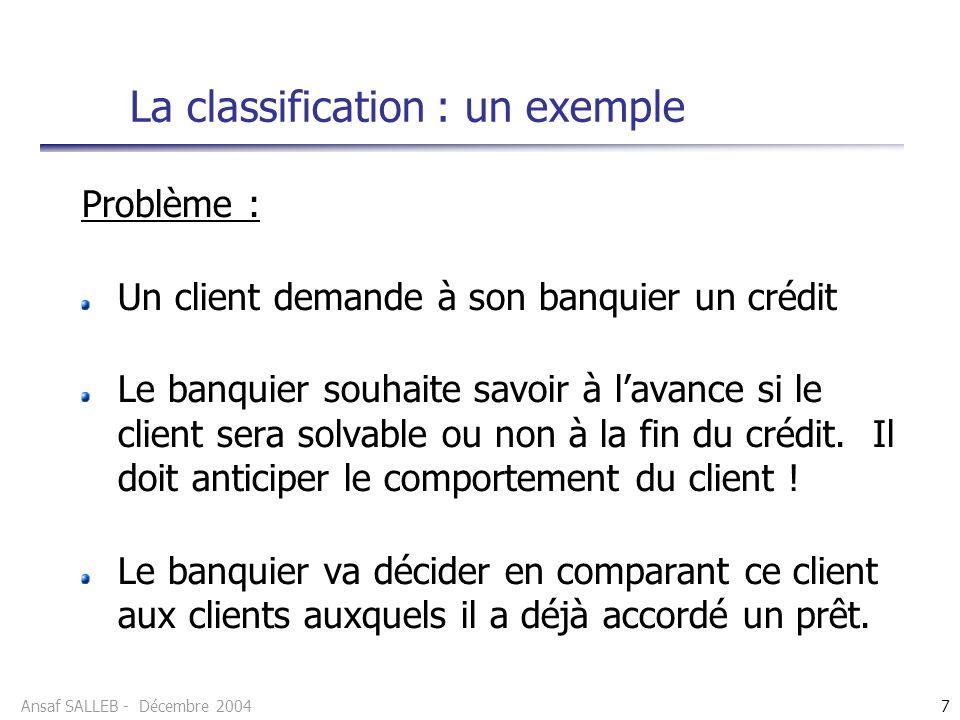 La classification : un exemple